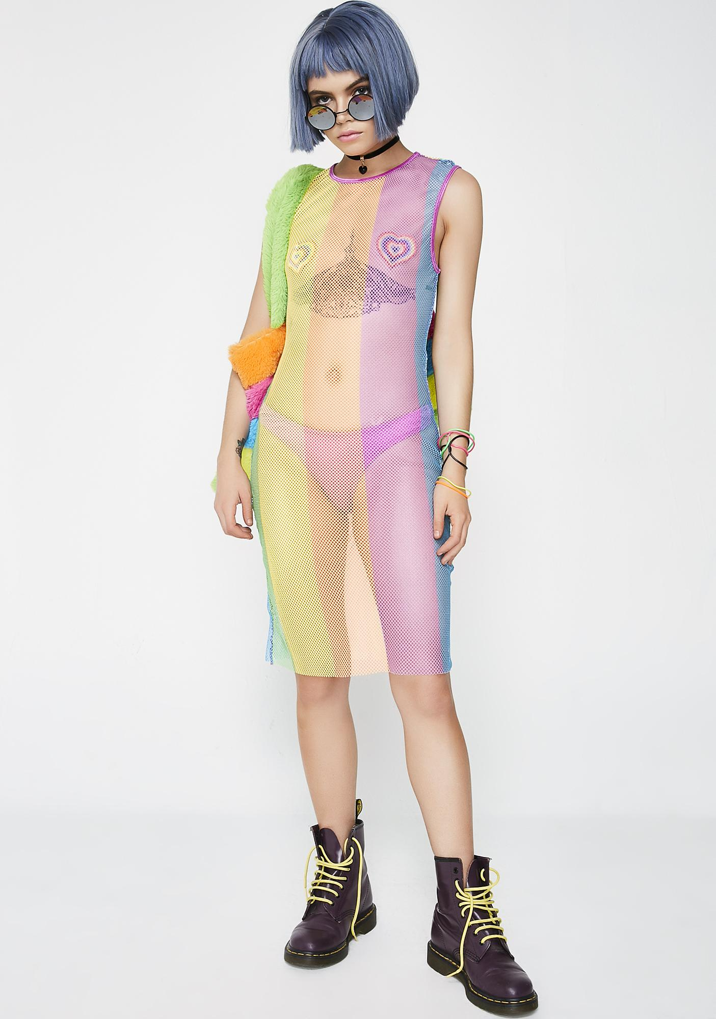 Current Mood Chroma Visions Sheer Dress