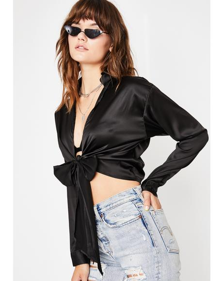 Dark Tie Breaker Satin Top