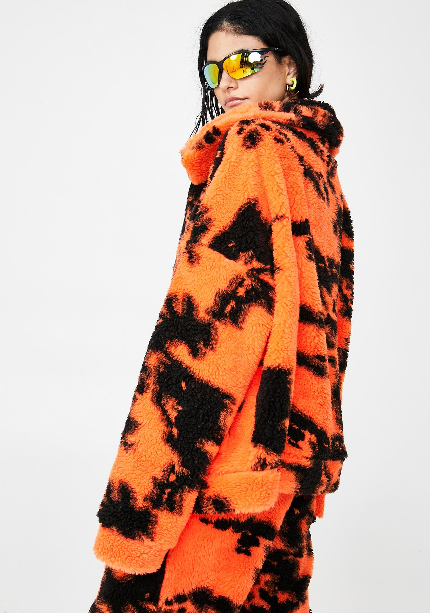 Jaded London Orange Tie Dye Fleece Jacket
