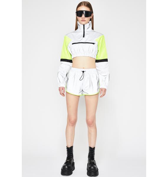 Platinum Sporty Swag Reflective Shorts Set