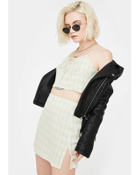 Sage Check Hema Crop Top