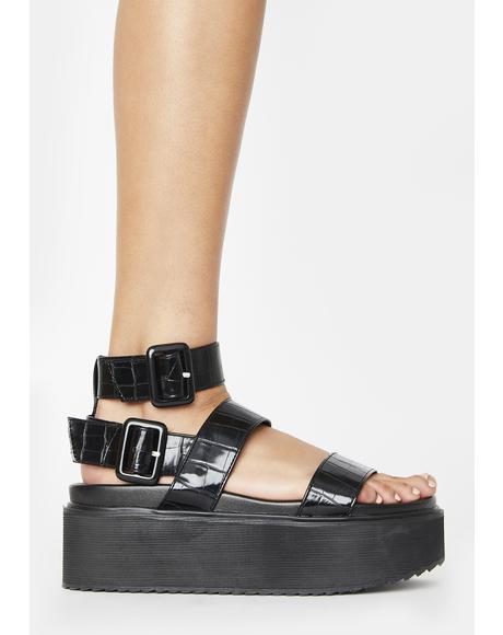 Black Croc Kodie Platform Sandals