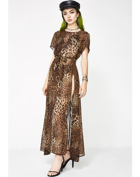 Queendom Sheer Leopard Dress