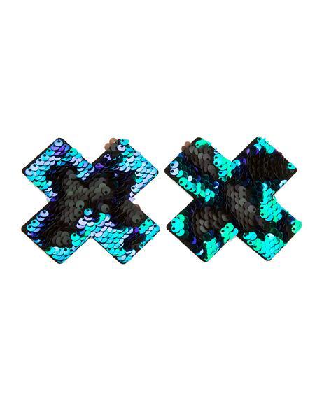 Blue X Sequin Pasties