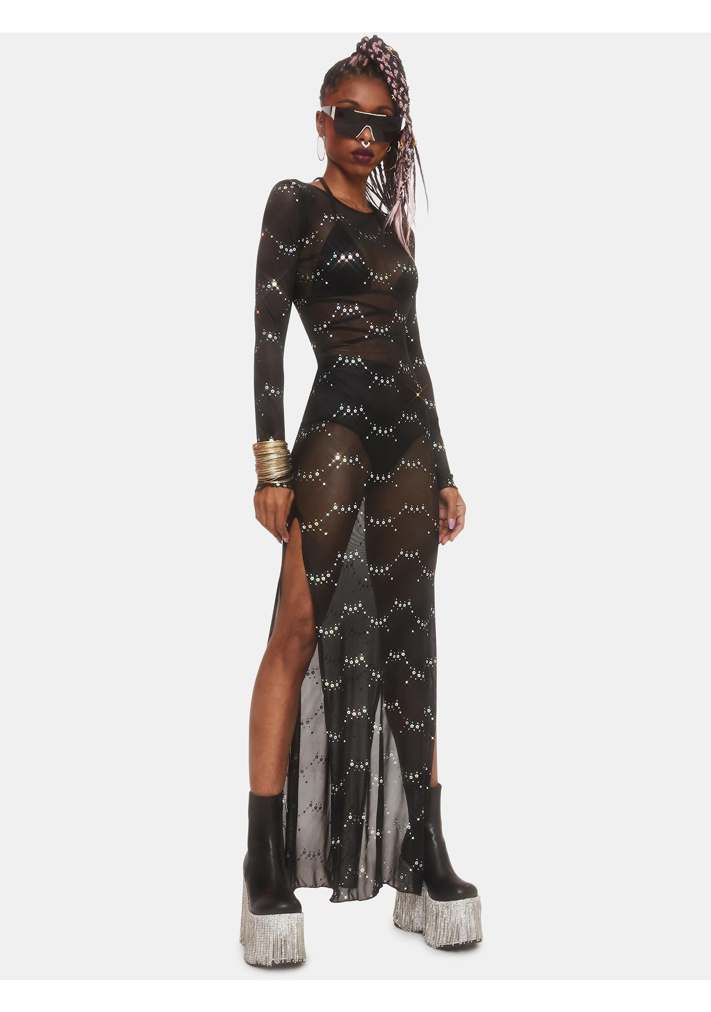 Club Exx Lunar Fantasy Mesh Maxi Dress