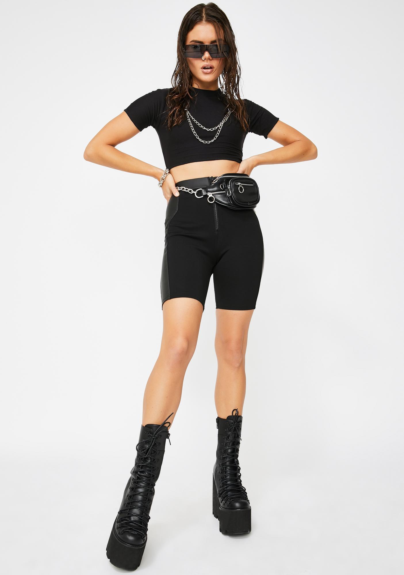 Riccetti Clothing Black Chain Reaction Crop Top