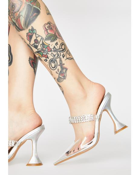 Showgirl Flair Clear Heels