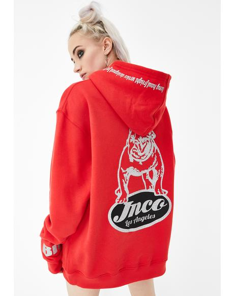 Red Big Rig Bulldog Fleece Hoodie