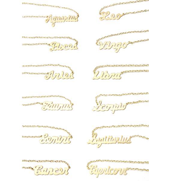 Rock n Rose Zodiac Nameplate Necklace