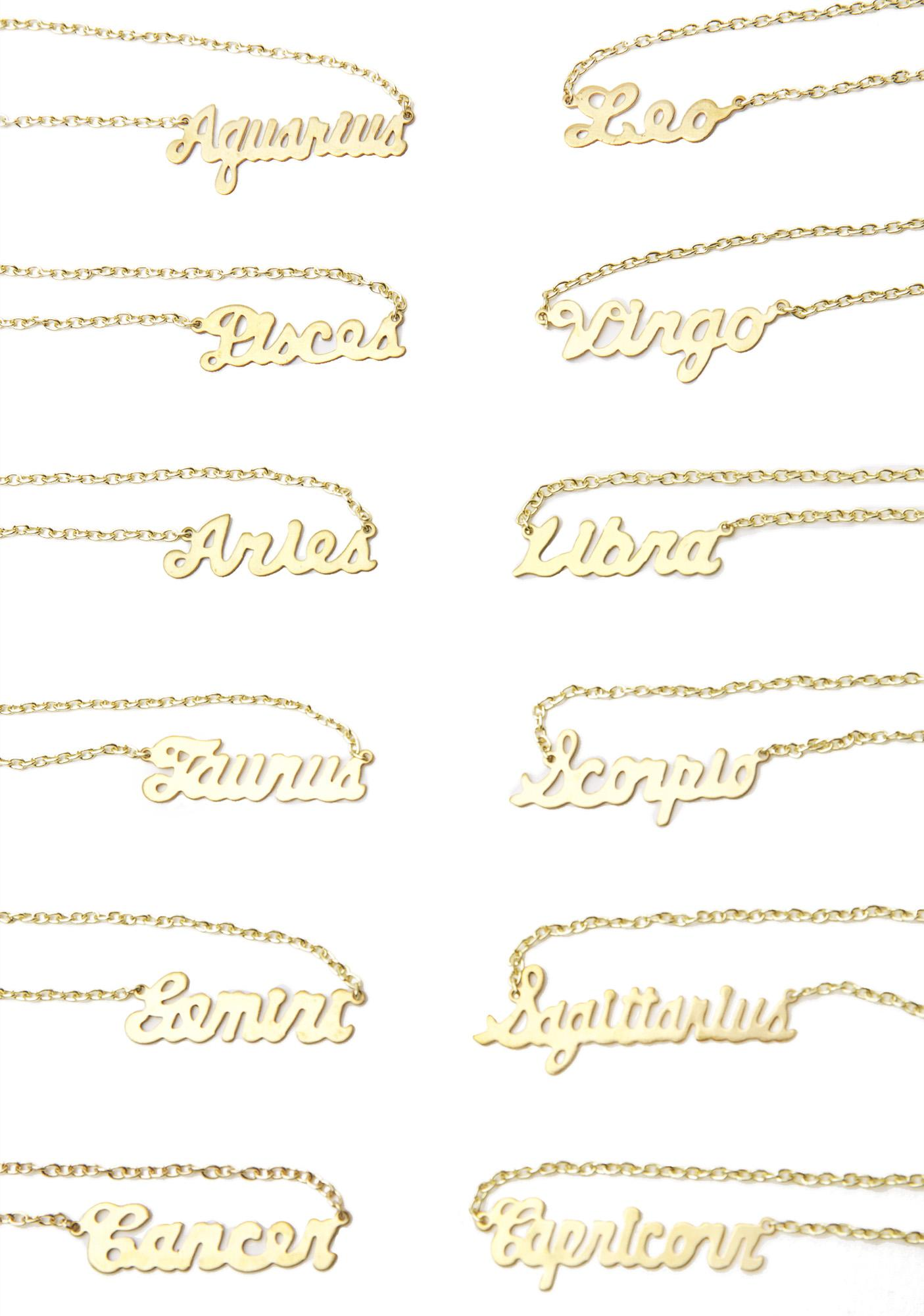 Rock n Rose Zodiac Nameplate Necklace
