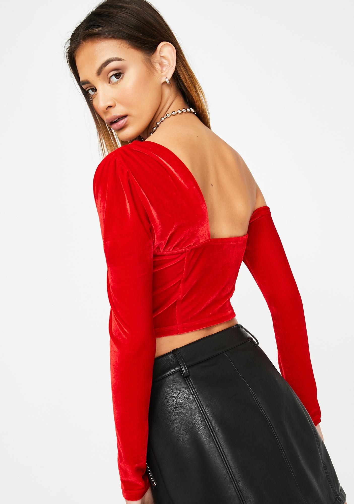 ZEMETA Red Velvet Cross Shoulder Top