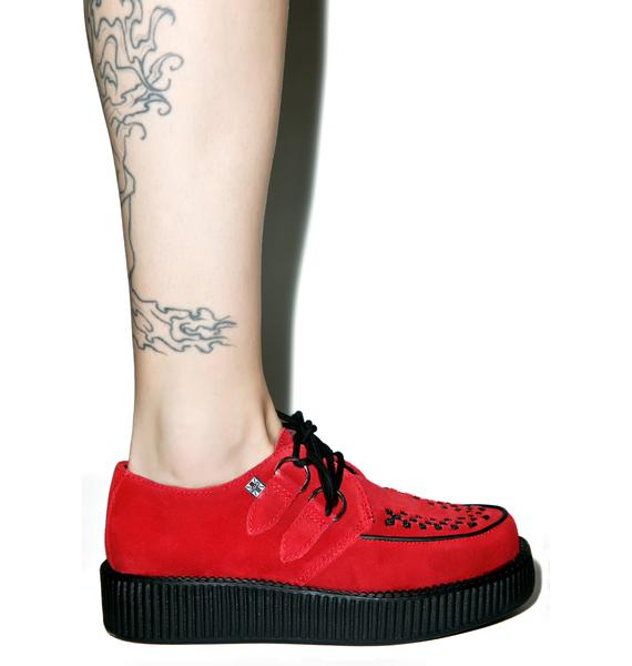 T.U.K. Red Suede Viva Low Creeper