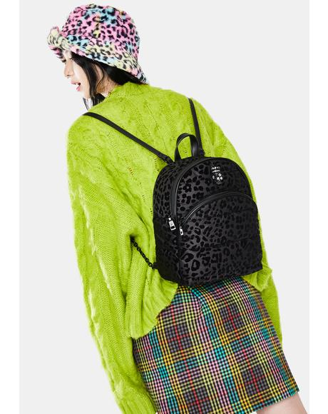 Pretty Puffer Velvet Leopard Backpack