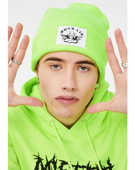 Neon Green Boys Lie Beanie