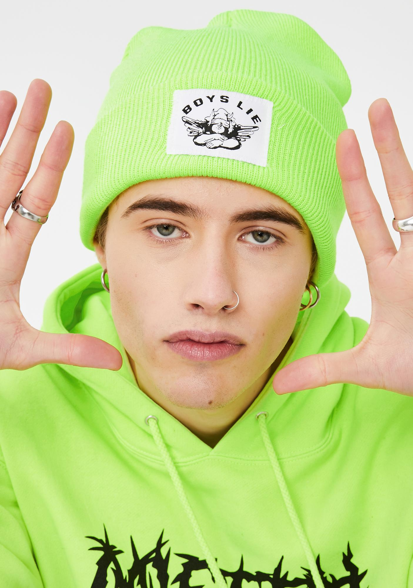 Boys Lie Neon Green Boys Lie Beanie