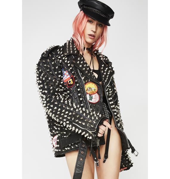 Hazmat Design Vintage Overkill Studded Leather Jacket