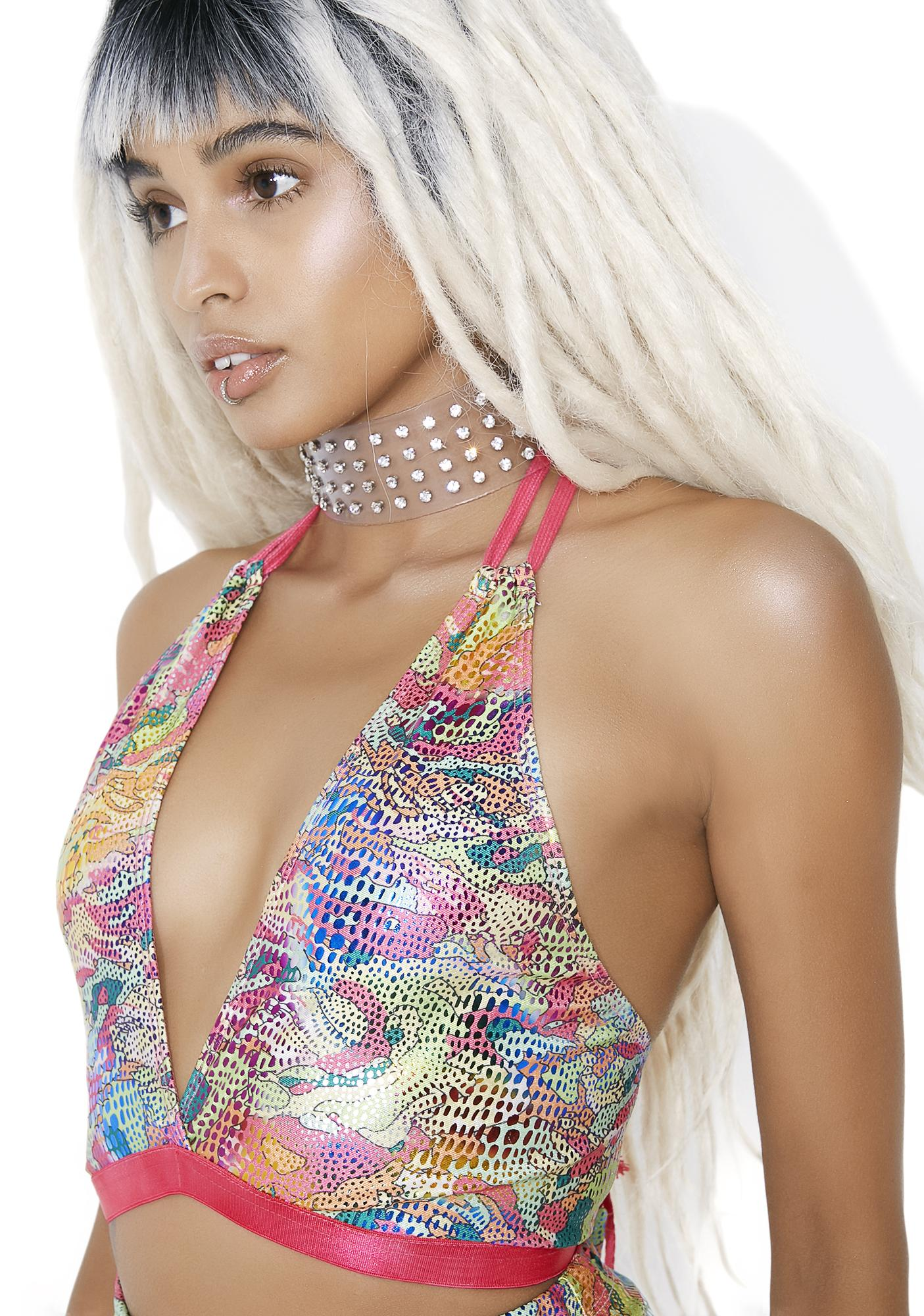 Club Exx Acid Oontz Lace-Up Halter Top