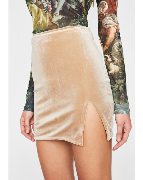 Cream Total Temptation Velvet Skirt