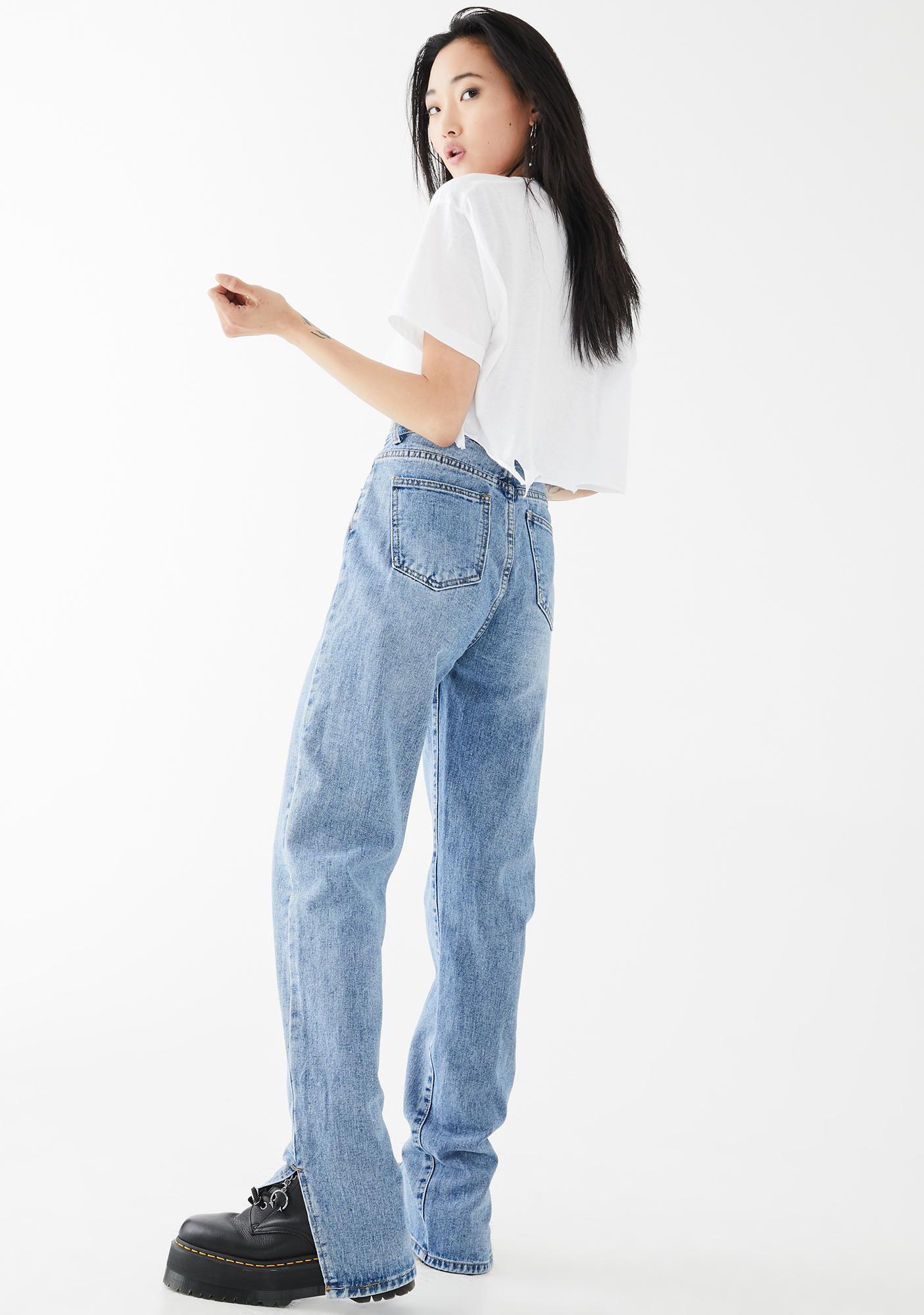 Momokrom Side Slit Hem Vintage Wash Jeans