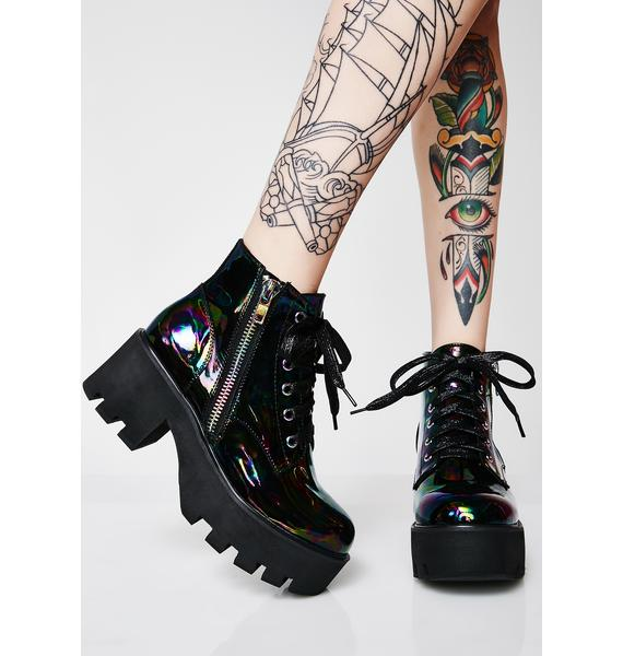 Club Exx Serpent Leather Slick Boots