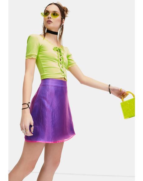 Mega Cutie Organza Overlay Mini Skirt