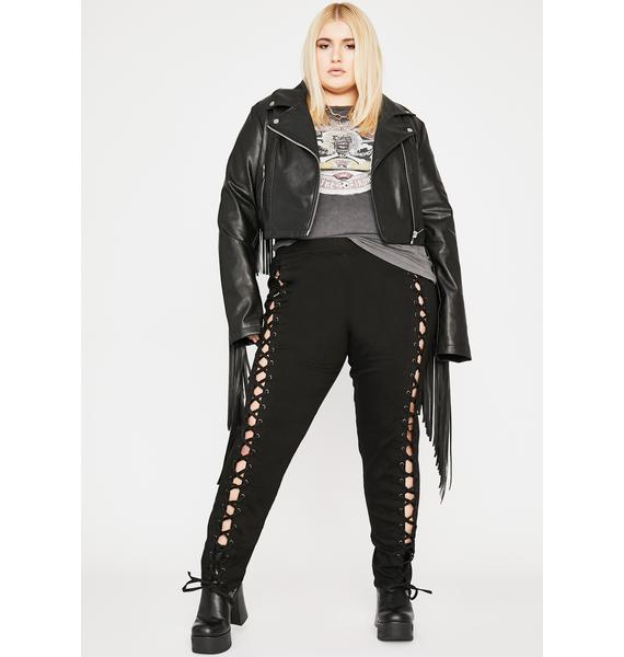 Current Mood So Damned Darling Lace-Up Jeggings