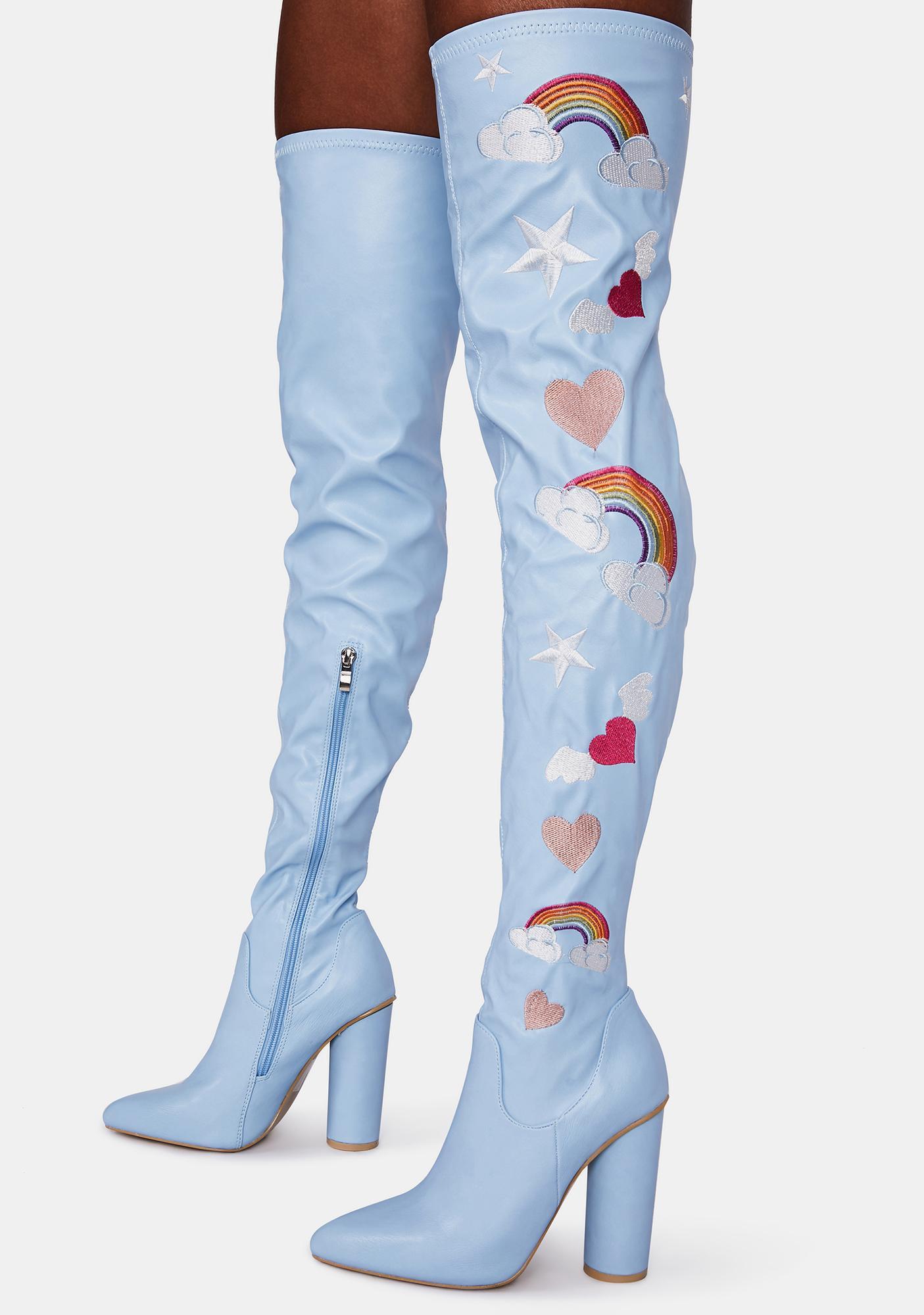 Koi Footwear Light Blue Rainbow Heart Thigh High Boots