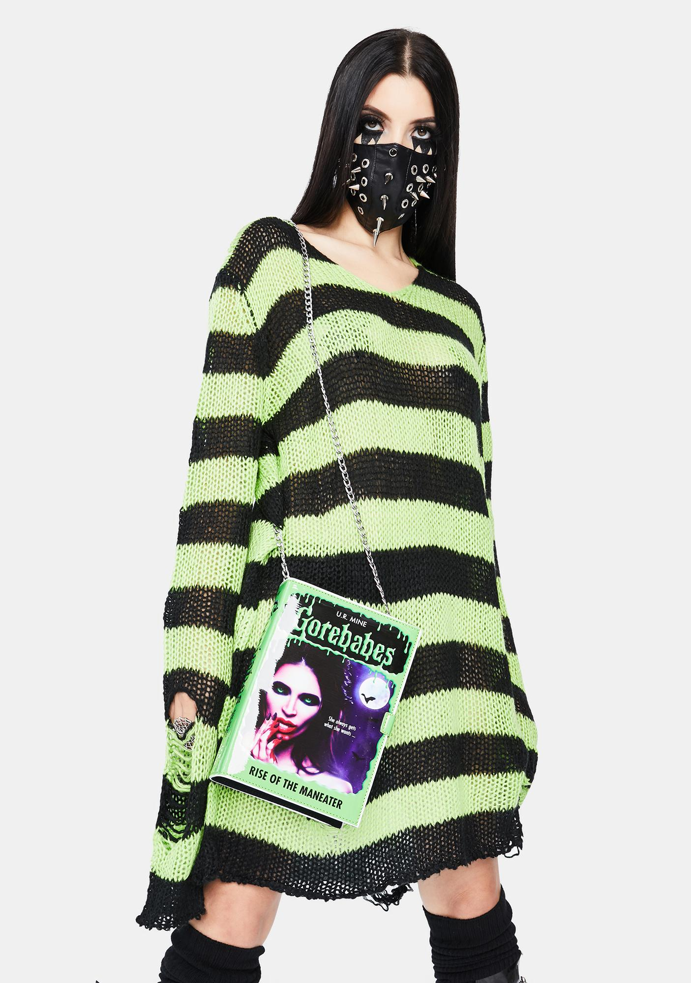 Dolls Kill Haunting Nightmares Striped Sweater