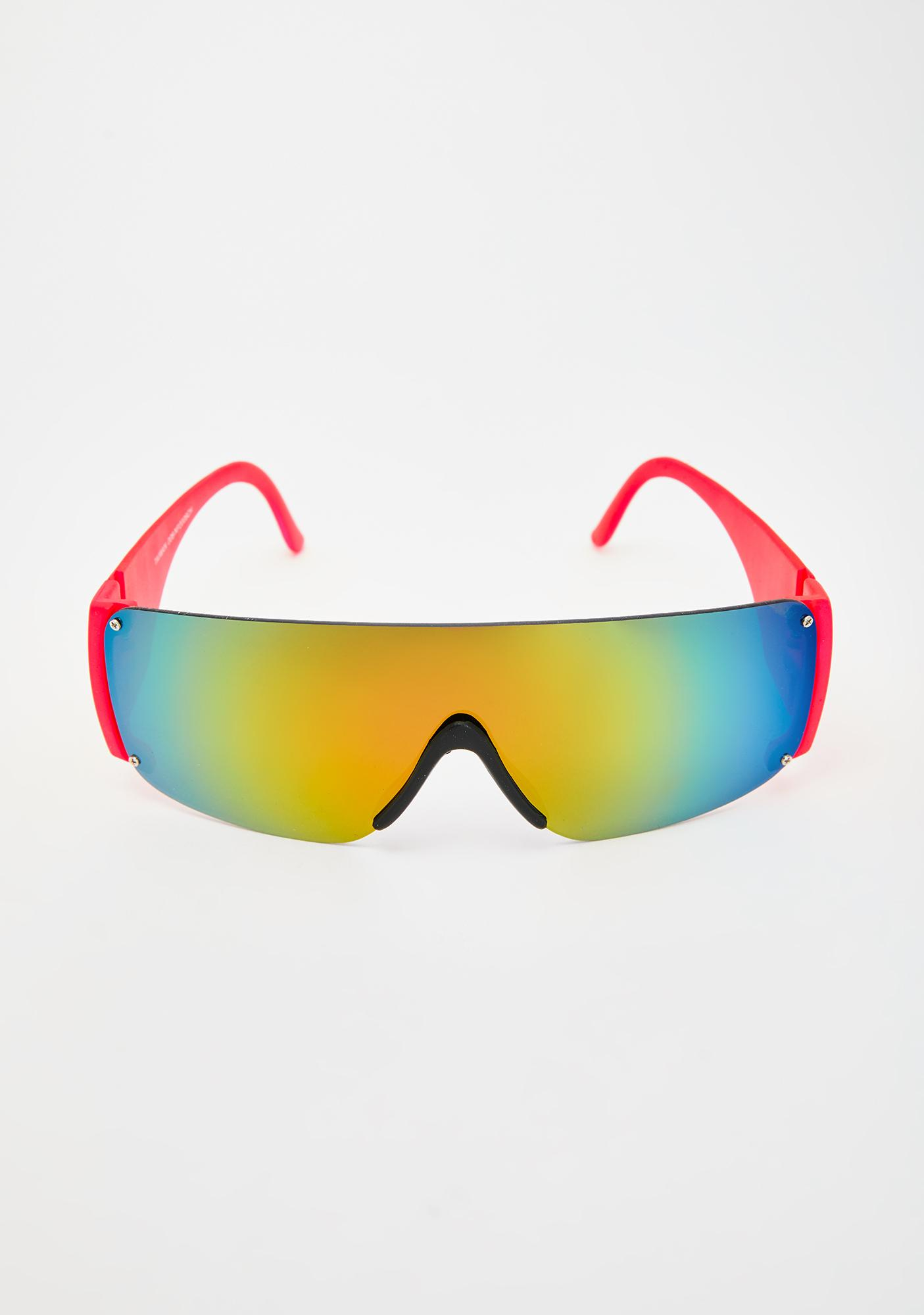 Good Times Eyewear Red Neon Shield Sunglasses