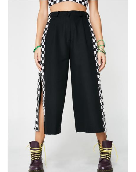 Black Check Pistol Trousers