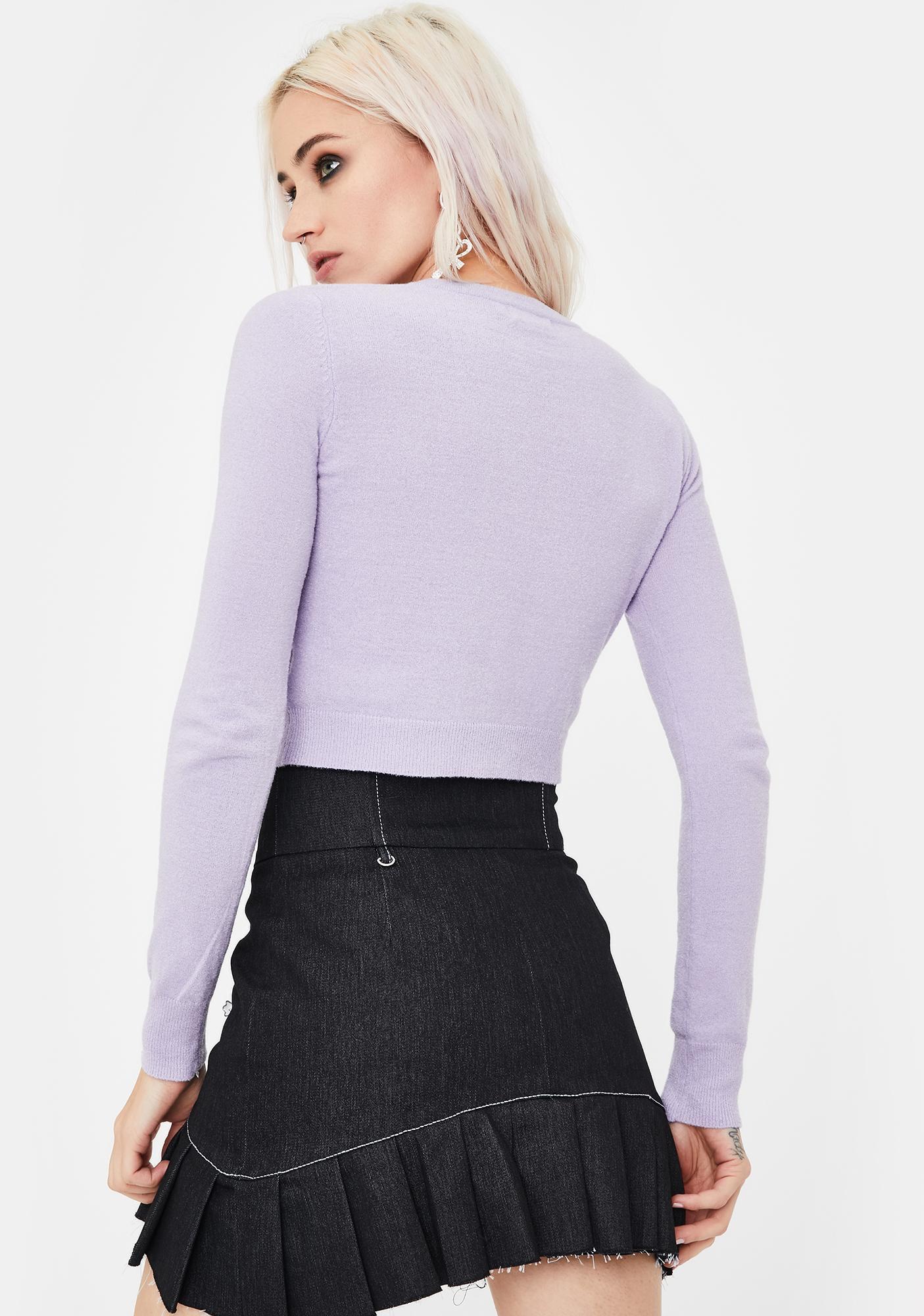 No Dress Lilac Cropped Knit Cardigan