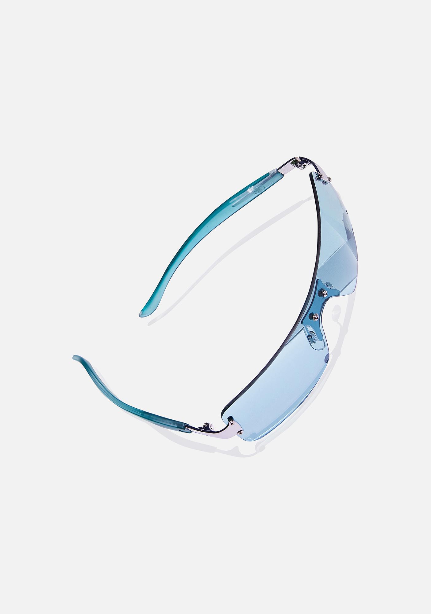 Good Times Eyewear Aqua Green Shield Sunglasses