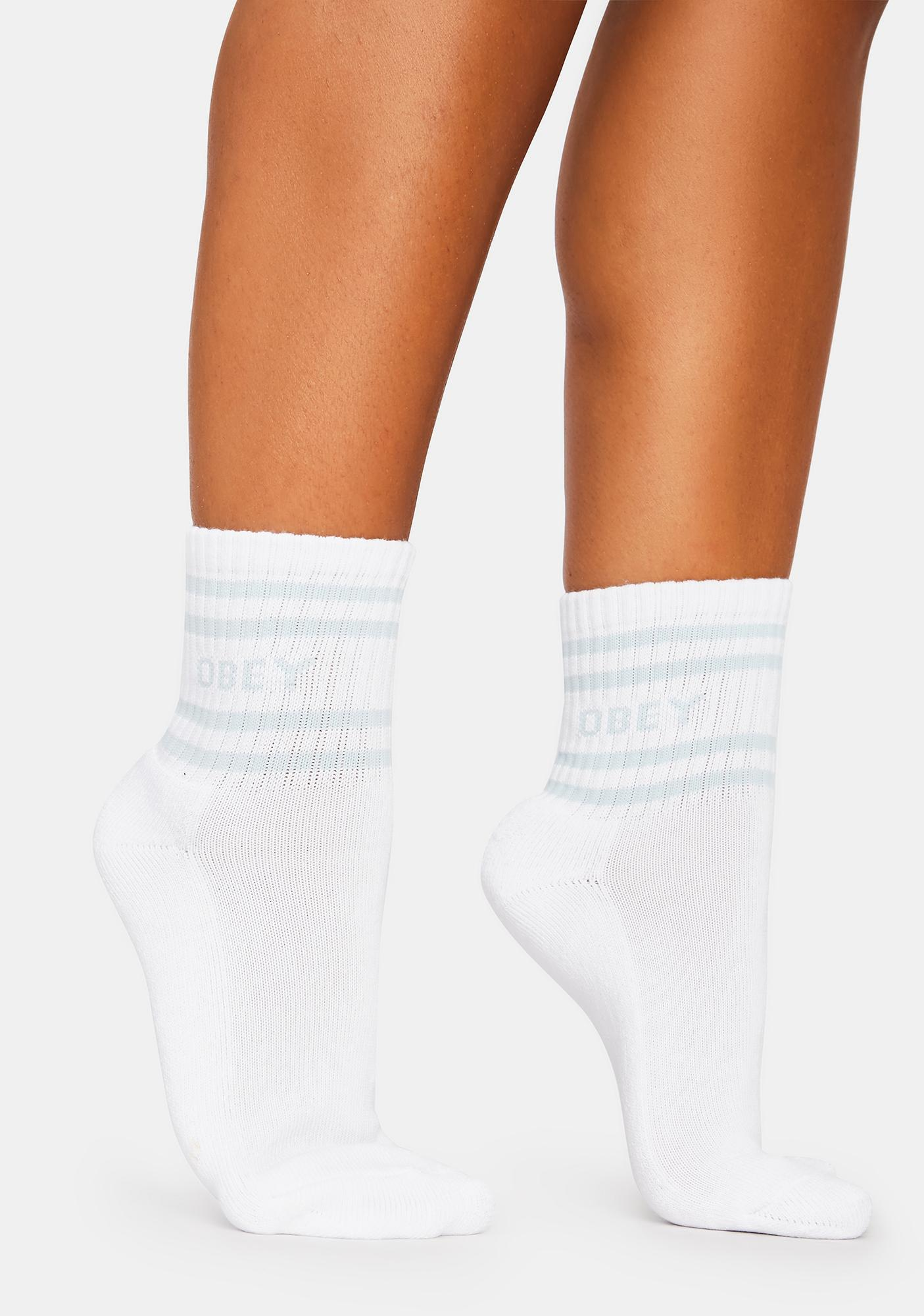 Obey Coop White And Blue Ankle Socks