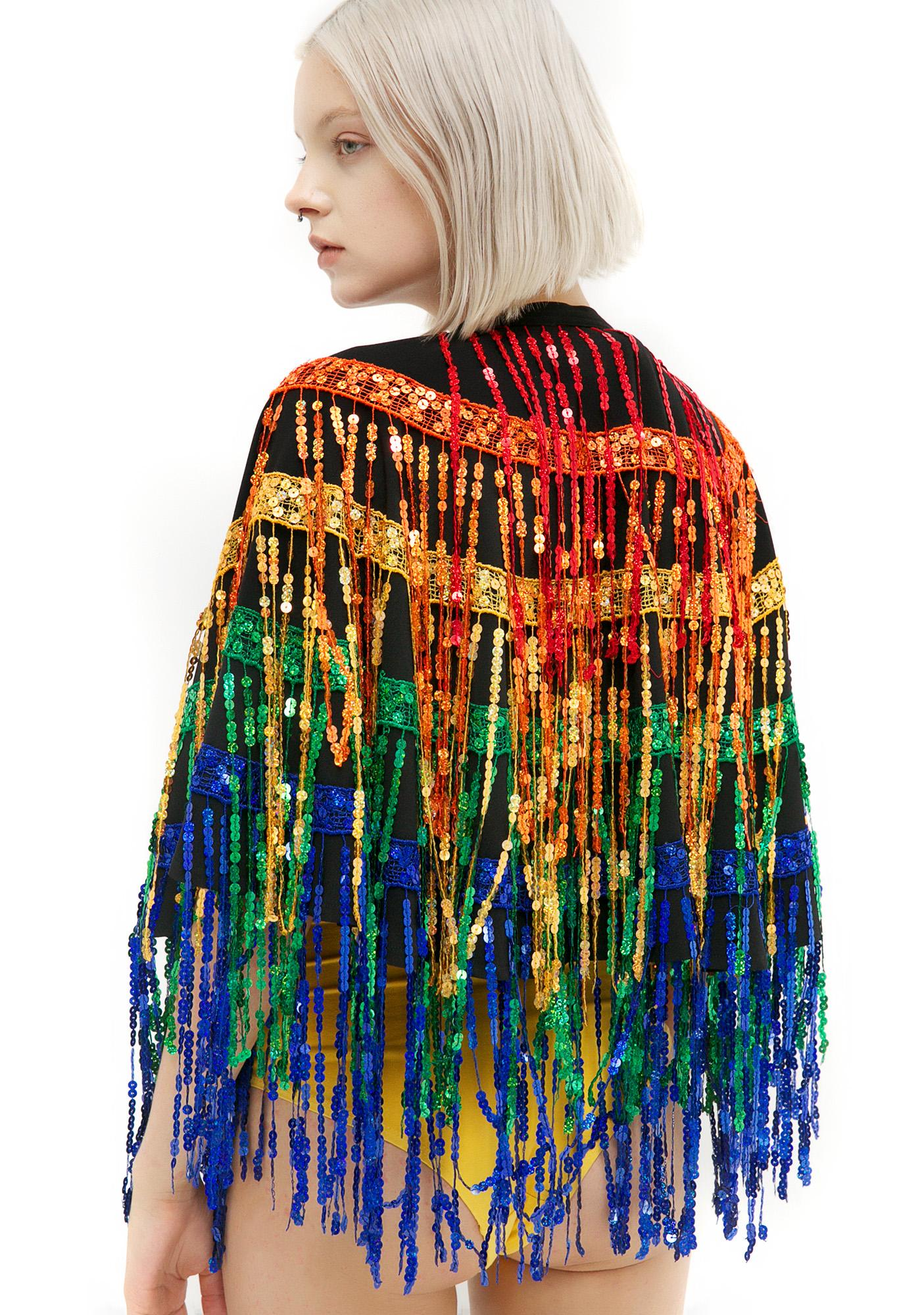 Jaded London Festival Sequined Cape
