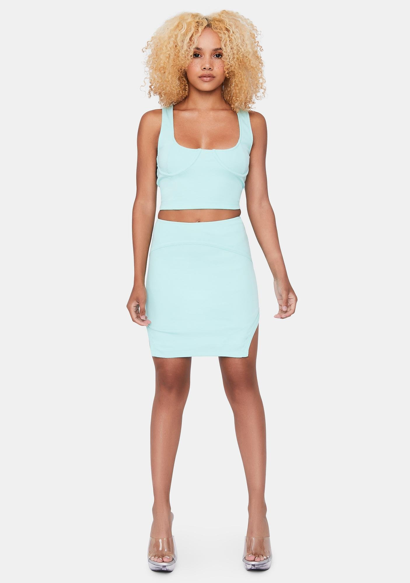 Aqua Hottie With A Body Skirt Set