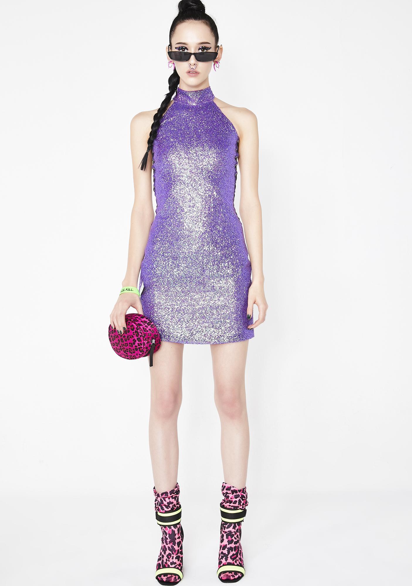 Elsie & Fred Kiki Purple Glitter Dress