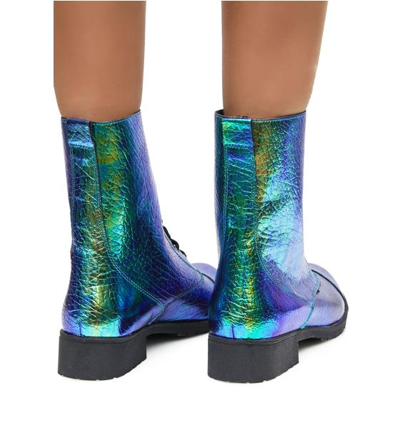 Mermaid Tears Combat Boots