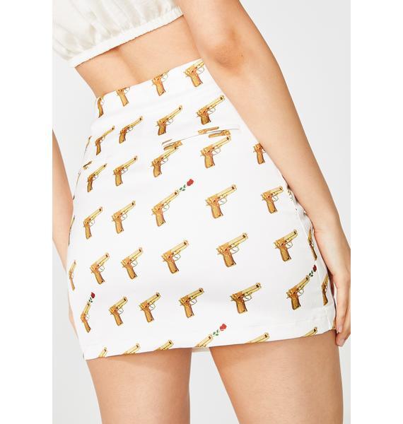 ZEMETA Rose Gun Satin Mini Skirt