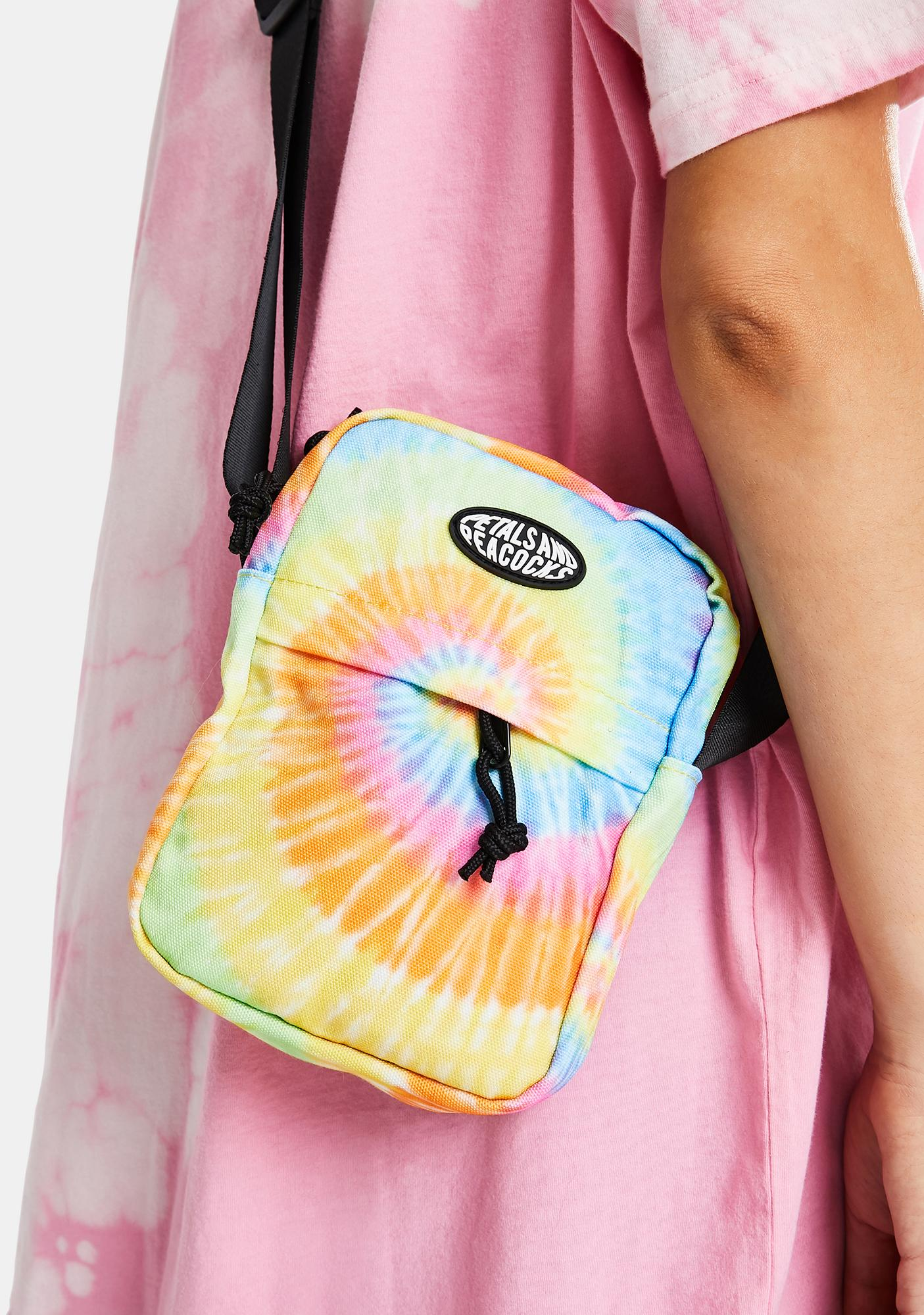 Petals and Peacocks Tie Dye Shoulder Bag
