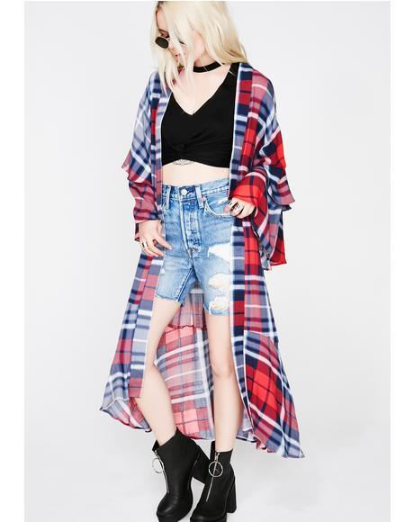 No Class Plaid Kimono