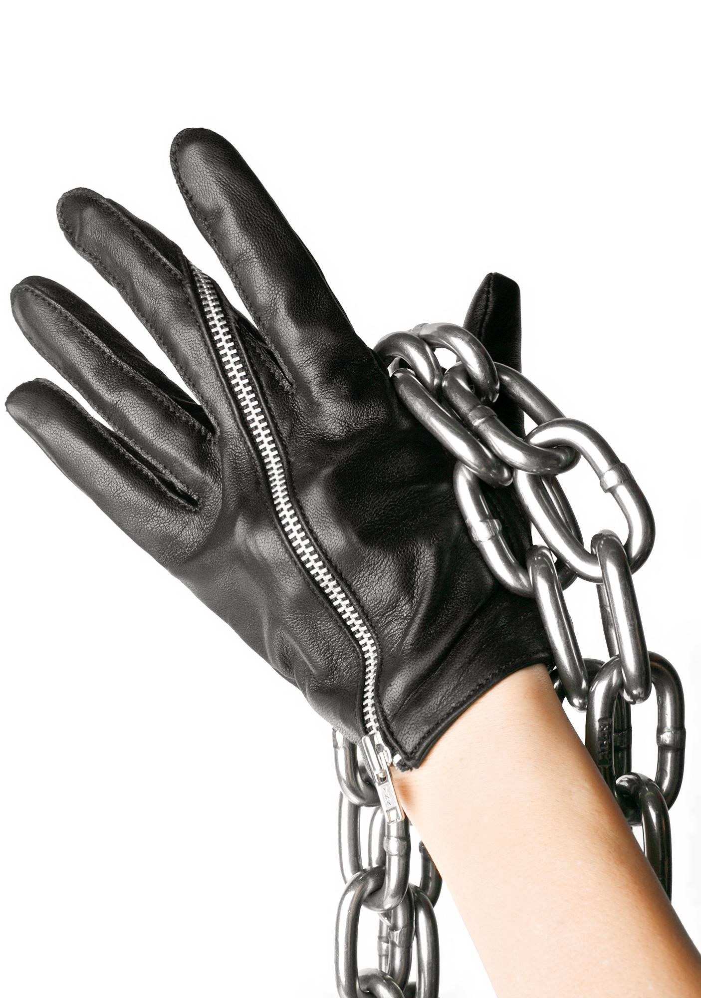 Majesty Black Twisted Zip Gloves