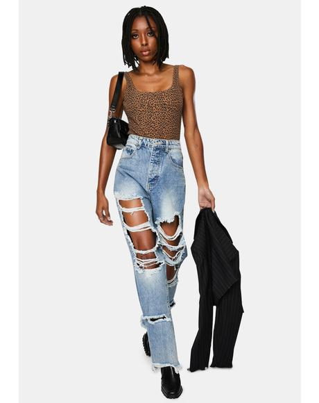 Light Wash Extra Ripped Boyfriend Jeans
