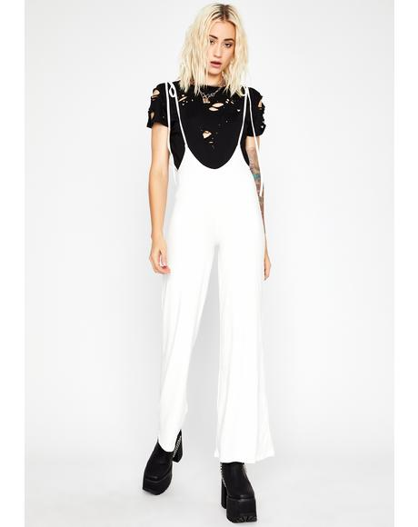 Blanc Chic Mood Plunge Jumpsuit