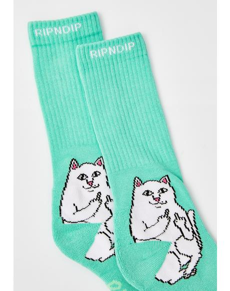 Minty Lord Nermal Socks