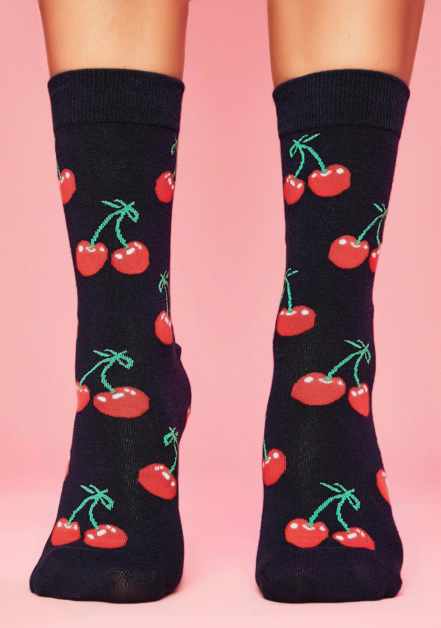 Mon Cherry Crew Socks