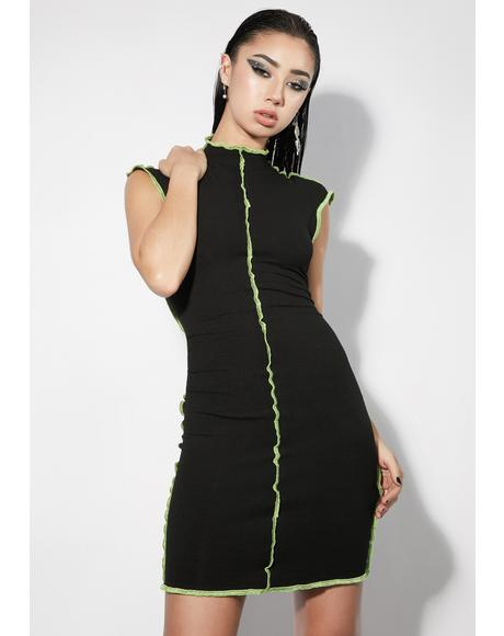 Noir God Of Mod Lettuce Trim Mini Dress