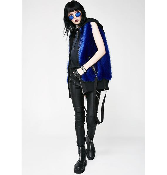 Current Mood Cobalt Bondage Fur Vest