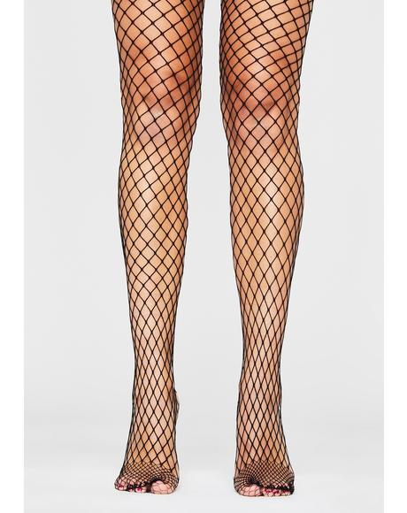 Midnight Slay Queen Fishnet Tights