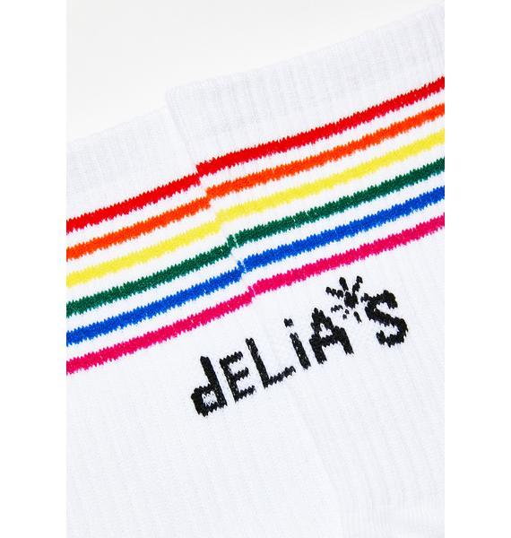 dELiA*s by Dolls Kill Fun All Day Striped Socks