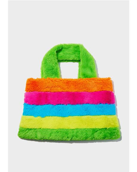 Rainbow Chaser Fuzzy Tote